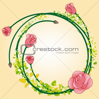 Abstract colorful rose flower frame