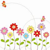 Springtime colorful flowers with butterfly greeting card