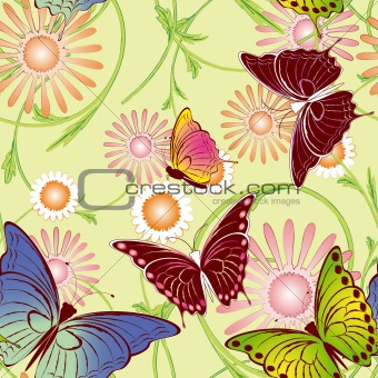 Abstract springtime colorful floral butterfly seamless pattern