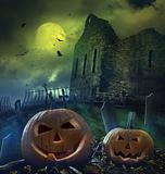 Pumpkins with graveyard scene