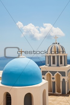 Old church domes in Santorini
