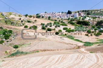 agricultural fields and old catholic cemetery in Sicily