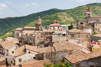 view on ancient tile roofs and tower of Sant Antonio church in Castiglione di Sicilia