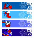 Four horizontal winter banners