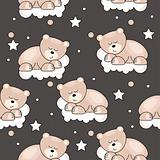 Seamless pattern with small bear