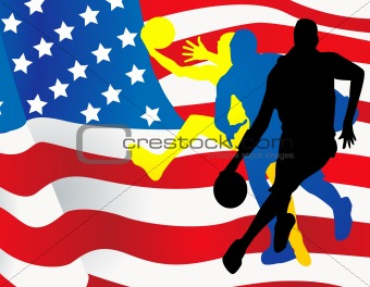 Basketball players with american flag