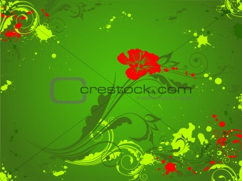green background with red flower