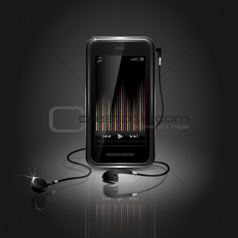 Sleek Mobile Phone Playing Music