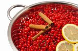 Red currant berries and ingredients for making jam