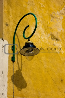 old curved street lamp