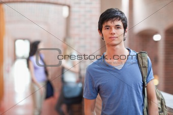 Portrait of a male student posing