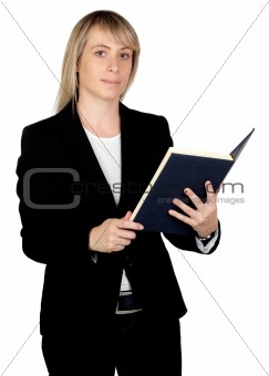 Blonde businesswoman reading a book