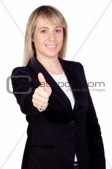 Blonde businesswoman saying Ok