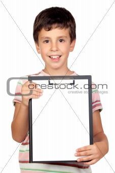 Beautiful boy with clipboard
