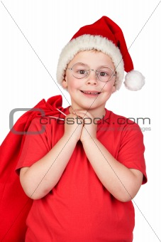 Adorable child with Santa Hat and glasses
