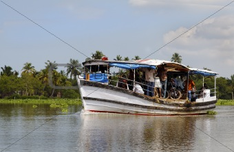 Short distance boat ferry Kerala India
