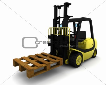 Yellow Fork Lift Truck on White