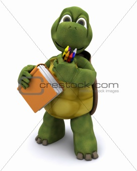 Tortoise with school book and crayons