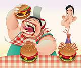 Guys with hamburgers.