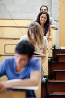 Portrait of young students during examination
