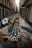 Pipes in dug up street