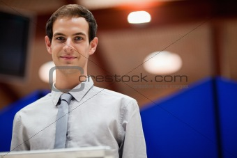 Young man doing a presentation