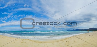 Beautiful blue beach panoramic sea view