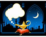 Magic lamp and arabic city skyline