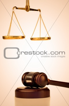 Fixed gavel and scale of justice