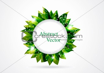 abstract green leaf in circle