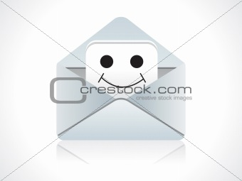 abstract mail icon with smile