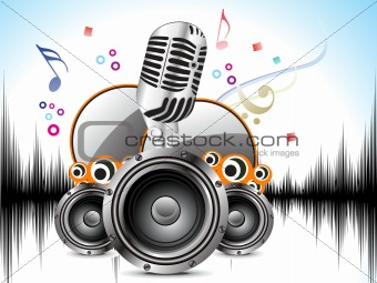 abstract musical background with mic & sound