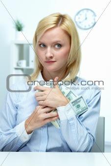 Greedy businesswoman