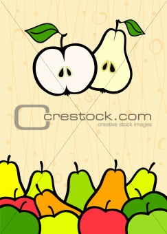 abstract background with apple and pear fruit vector illustratio