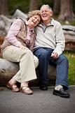 Loving mature couple enjoying in park at countryside