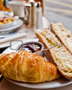 fresh croissan on table ,Delicious!