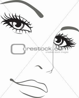 beautiful woman face vector portrait