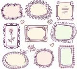 cute doodle floral vector frame set