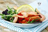 salad with shrimp, herbs and vegetables