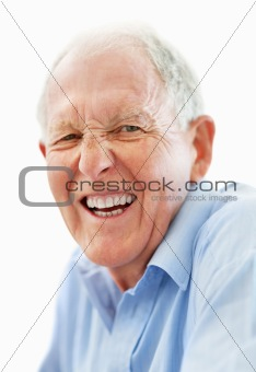 Cheerful mature man isolated against white background