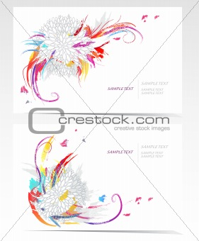Backgrounds with flowers. Vector business card set with floral e