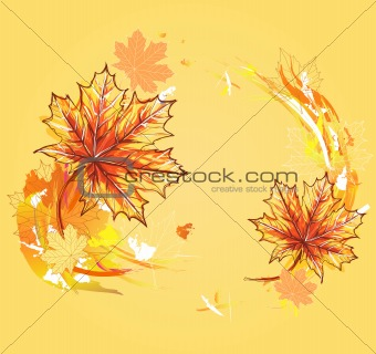 Background with maple leafs. Autumn leafs background.