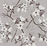 Cute and modern cherry blossom seamless pattern.