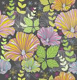 Seamless colorful floral pattern. Background with flowers and le