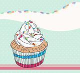 Cute birthday card with cupcake