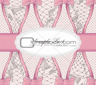 Background with cherry blossom flowers, birds and bows. Polka do