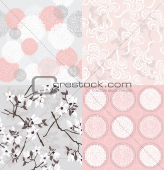 Set of seamless floral patterns with spring or summer flowers an