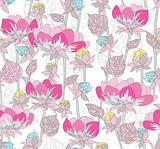 Seamless pink pattern with flowers. Floral background .