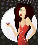 Woman in red dress standing with glass of martini