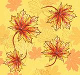 Seamless pattern with maple leafs. Autumn leafs background.